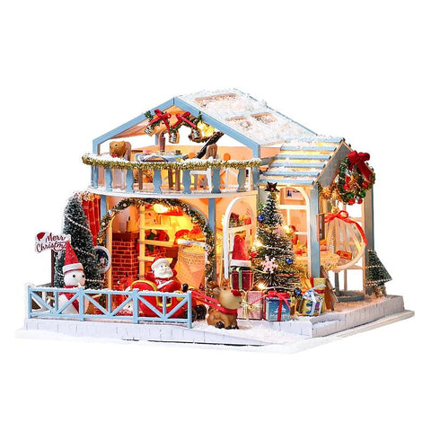IIE CREATE Christmas Snowy Night (K058) Assemble Wooden Miniature Dollhouse w/LEDs, Dust Proof Cover and Glues Christmas Gift