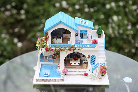 DIY Doll House Blue and White Town (K015) iie Create Wooden Miniature Dollhouse Birthday Anniversary Gifts