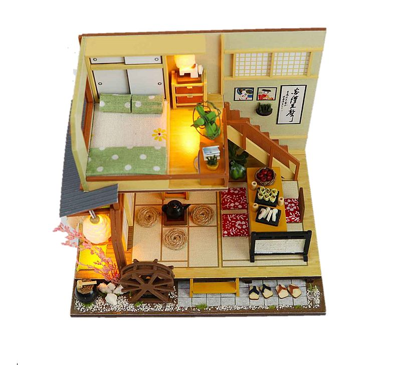 DIY M034 'Karuizawa's forest holiday' Wooden Kids Toy Miniature Dollhouse Furniture Kits w/ LEDs and Dust Proof Cover and Glue