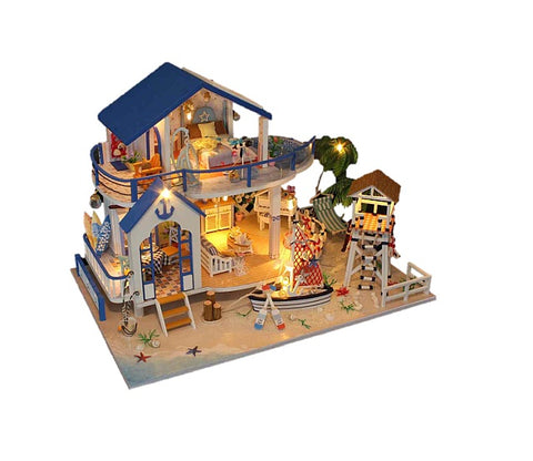 Handmade Miniature Doll House Furniture Kit 'Legend of the Blue Sea' Wooden Miniature Dollhouse w/ LEDs Gifts for Friends