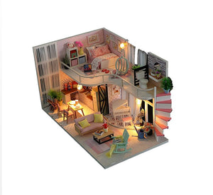 DIY Wooden Miniature Doll House Furniture Kits w/ LEDs Fun Crafts Handmade Gifts
