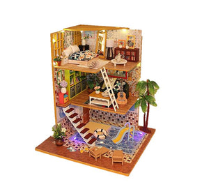 DIY Wooden Miniature Doll House ' Thank You for Being a Friend' (M029) w/ LEDs and Glues Handmade Furniture Kits Fun Crafts