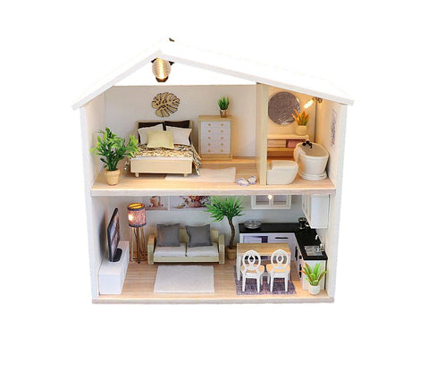 DIY 'Light Time' (M039) w/ LEDs Miniature doll House Furniture Kits Children Birthday Gifts Handmade Gifts