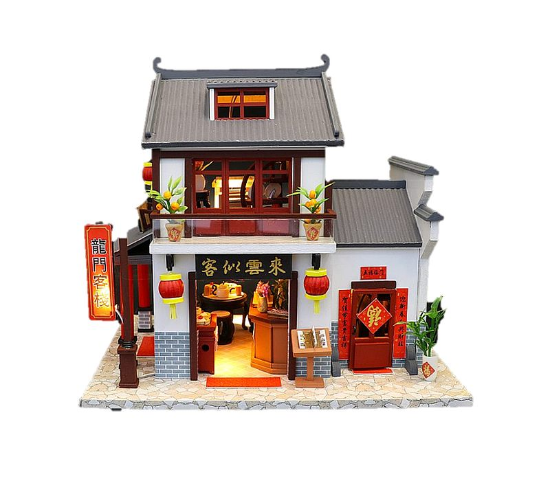 Hoomda DIY M901 'Dragon Gate Inn' w/ LED Lights, Dust Proof Cover, Music Movement and Glues, Wooden Miniature Doll House Furniture Kits