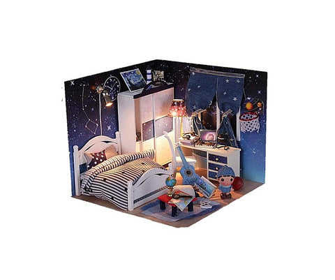 Wooden Miniature Dollhouse 'Take You to See the Stars' w/ LEDs,  Dust Proof Cover and Glue DIY Doll House Furniture Kits Handmade Gifts Craft Presents Handmade House Gifts Toy Gifts Decor Toys