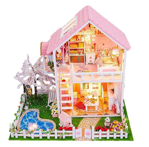 Hoomeda 'Spring Romance' Assemble Modern Dollhouse Miniature DIY Kit Dollhouse With Furniture LED Lights and Glues