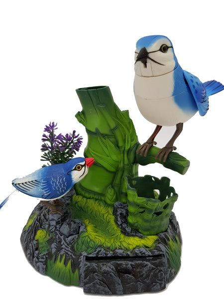 2 Blue Birds Sound Control Function Singing Bird Electric Voice activated Bird Pets Pen Pencil Holder Christmas Gift Birthday Gift for Kids