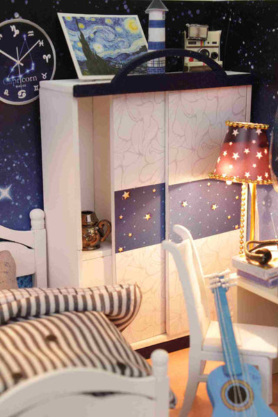 Wooden Miniature Dollhouse Furniture Kits 'Take You to See the Stars' w/LEDs, Dust Proof Cover and Glue Handmade Gifts Craft Presents