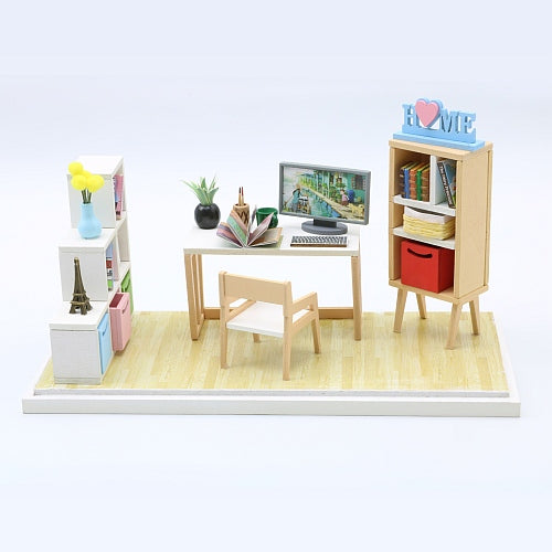 "Assemble Wooden Miniature Doll House Furniture Kit ""Reading Corner"" DIY Doll House Furniture Doll House and Miniature Gifts"