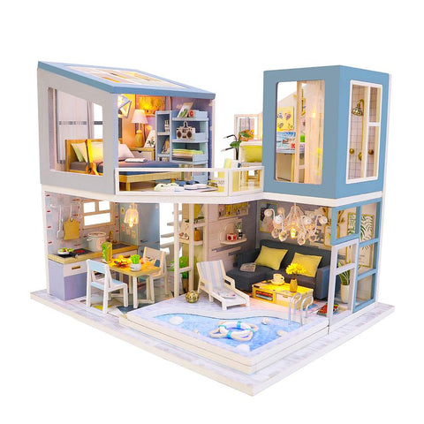 Hoomeda 'First Meet' (M910) Wooden Miniature Dollhouse w/ Dust Cover, Glues and LEDs Miniature Doll House Furniture Kit Gifts for Friends
