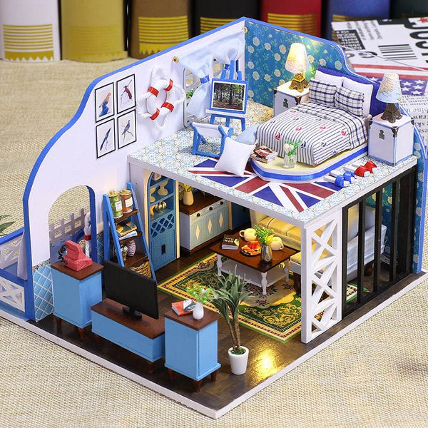 IIE CREATE Blue Coast (K024) Assemble Wooden Miniature Dollhouse w/LEDs, Dust Proof Cover and Glues Birthday Gifts