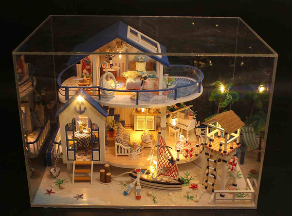 Handmade Miniature Doll House Furniture Kit 'Legend of the Blue Sea' (13844) Wooden Miniature Dollhouse w/ LEDs Gifts for Friends