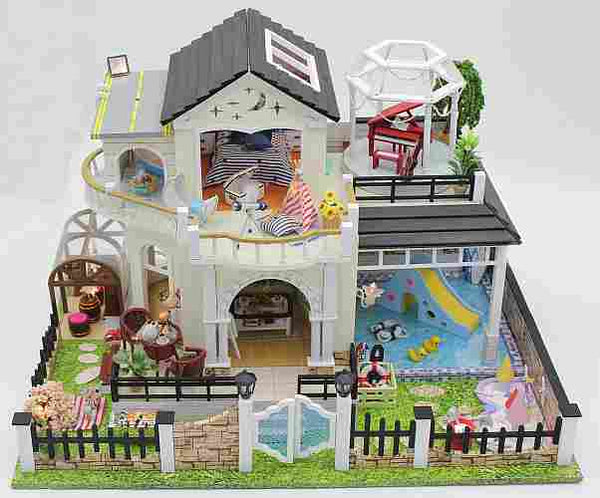 DIY Assemble Dollhouse Furniture Kits 'Elixir of Love' Wooden Miniature Doll House w/ LEDs and Music Handmade Gifts Birthday Presents