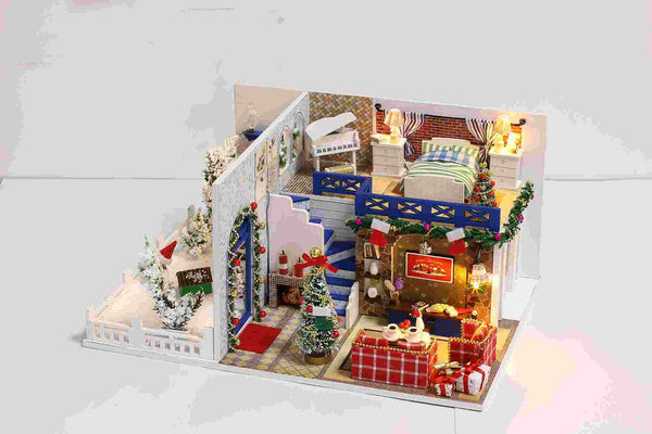 IIE CREATE Blue Christmas (K026) Assemble Wooden Miniature Dollhouse w/LEDs, Dust Proof Cover and Glues Christmas Gift