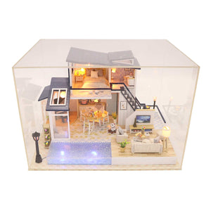 DIY Dollhouse Furniture Kits 'Mermaid Tribe' Wooden Miniature Dollhouse w/LED Lights, Glues and Dust Proof Cover Handmade Gifts Birthday Presents