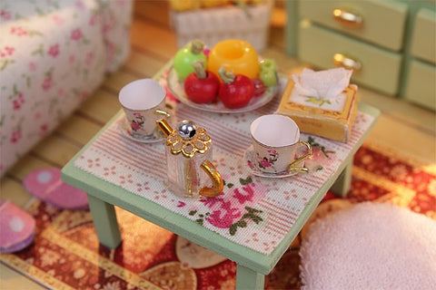 DIY Kids Toy Miniature Dollhouse w/ LEDs and Dust cover Assemble Doll House Furniture Kits Doll House Kits Craft Toys Fun Crafts Present for Kids