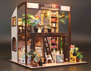 DIY Miniature Doll House 'Coffee Time' (M027) w/ LEDs Handmade gifts Present, Wooden Crafts Furniture Kits