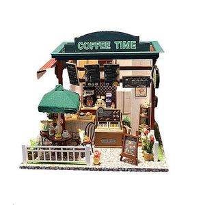 "DIY Miniature Doll House ""Coffee Time"" Shop (C006) w/LEDs Dust-proof Cover and Glue Present for Boys and Girls Wooden Crafts"