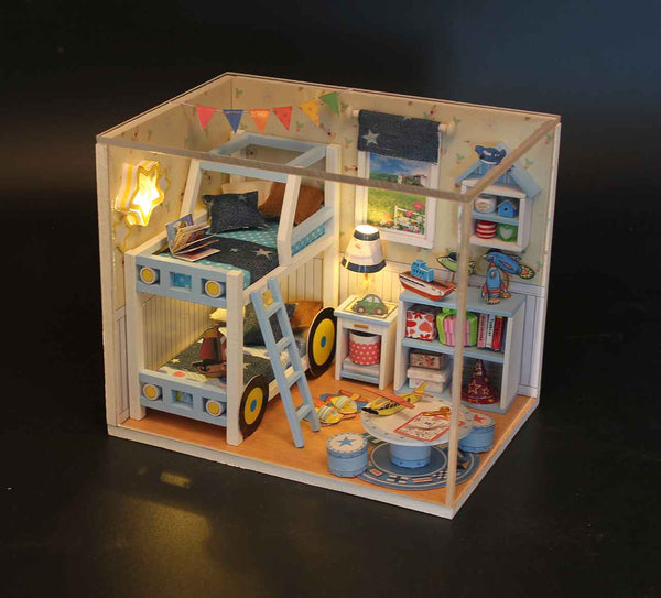 DIY Doll House Furniture Kits Wooden Kids Toy Miniature Dollhouse Handmade Presents for Boy Fun Crafts