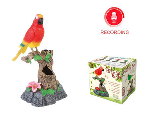 The Recording Functional Beautiful Green Birds Gifts Toy Pen Pencil Holder Electronic Talking Repeating Parrot Bird