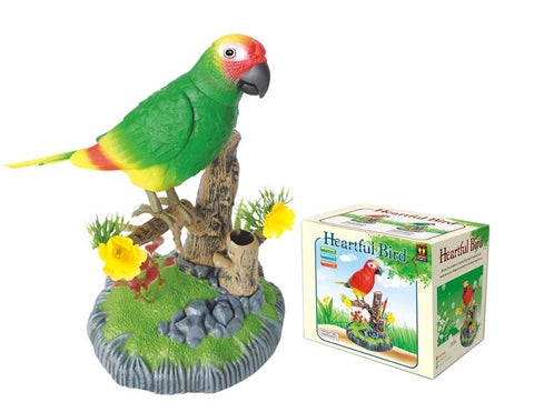 Green Bird Electronic Voice-Activated Parrot Birds Pen Pencil Holder Sound Control Function Bird Best Presents