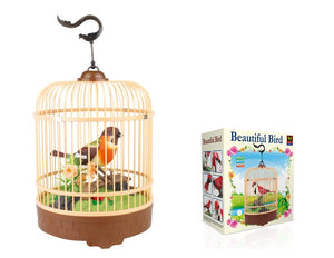 Sound Sensor Electric Voice-activated Bird Pets in the Cage Music Singing Bird Baby Toys Christmas Gift for Kids