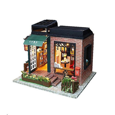 DIY C008 'Century Bookstore' w/ LED Lights, Music Moverment and Glue Wooden Kids Toy Miniature Dollhouse