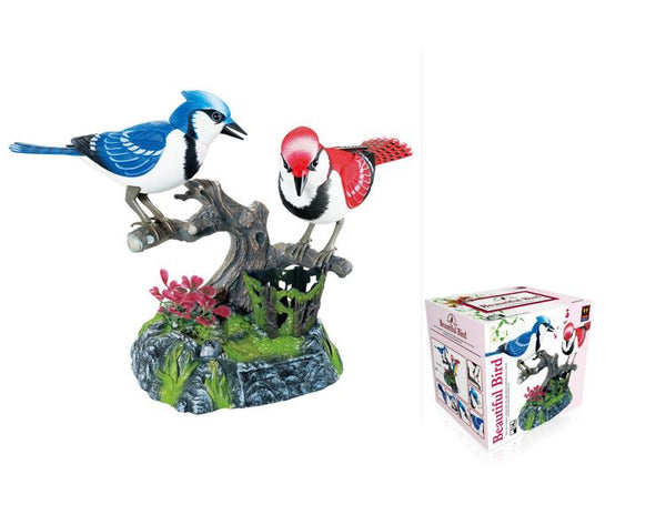 Electronic Noise-Activated Red and Blue Birds Pen Pencil Holder Unique Presents