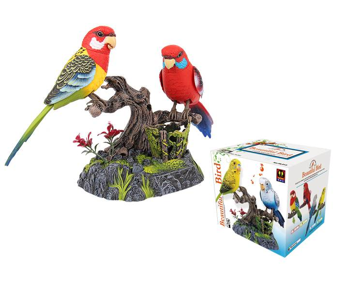 A Pair of the Ensemble Birds Beautiful Birds Eastern Rosella Electric Sound Control Parrot Pen Pencil Holder Pet Toys