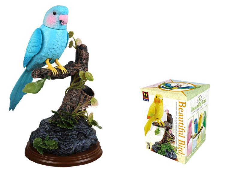 Electronic Voice-Activated Parrot Birds Pen Pencil Holder Sound Control Function Bird Blue Bird Best Presents