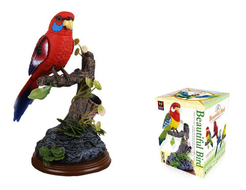 Electronic Voice-Activated Parrot Birds Pen Pencil Holder Red Eastern Rosella Sound Control Function Bird Eastern Rosella Unique Gifts