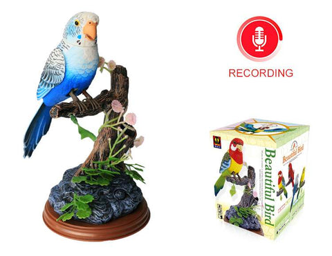Electronic Talking Repeating Parrot Blue Melopsittacus Undulatus Recording Function Bird Surprise Gifts