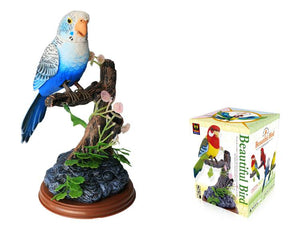 Blue Melopsittacus Undulatus Sound Control Function Singing Bird Electronic Voice-Activated Parrot Birds Pen Pencil Holder Toy Bird for Children