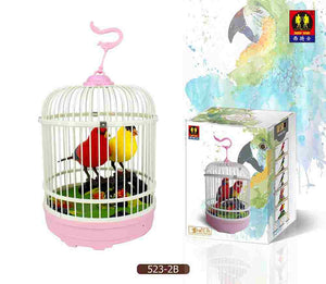 The Ensemble Bird Light Function Two Red and Yellow Birds in Cage Girl Presents