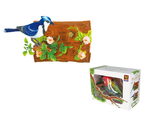 Wall-Hanging Blue Jay Bird Noise Sensor Function Bird Surprise Presents