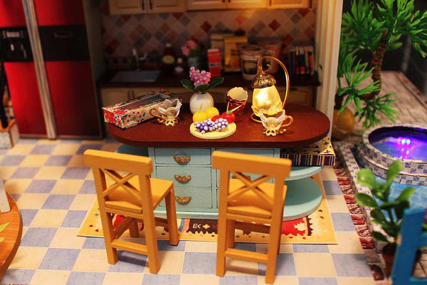 DIY Wooden Doll House Furniture Kits 'Blue Romance' Wooden Miniature Dollhouse w/ LEDs Handmade Gifts Diy Doll House Assemble Doll House