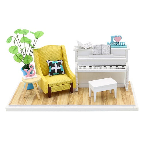 Ensemble Wooden Miniature Doll House Room Furniture Kit 'The Voice of the Piano' DIY Doll House DIY Furniture Doll House and Miniature Gifts