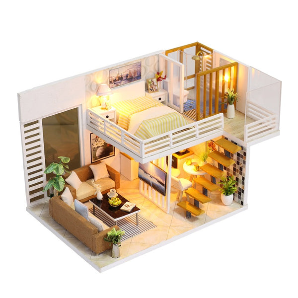 IIE CREATE Simple and Elegant (K031) Assemble Wooden Miniature Dollhouse w/LEDs, Dust Proof Cover and Glues Birthday Gifts
