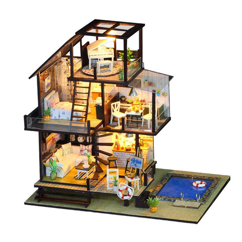 IIE CREATE Seattle Holiday (K048) Assemble Wooden Miniature Dollhouse w/LEDs and Glues Birthday Anniversary Gifts
