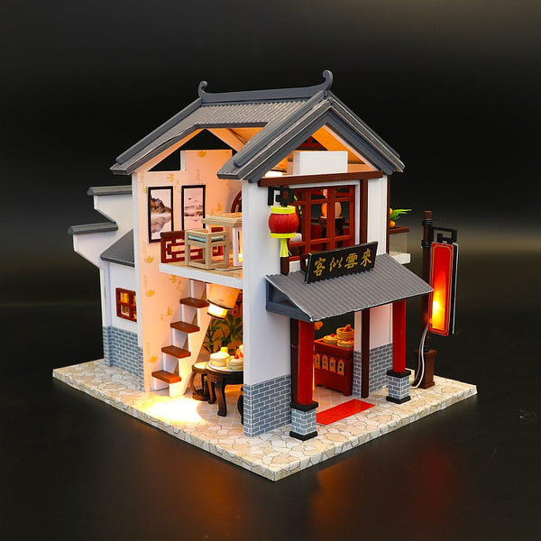 DIY Miniature Doll House Kits w/ LEDs Wooden Dollhouse Crafts Furniture Kits Present for Kids