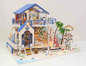 Handmade 'Legend of the Blue Sea' (13844) w/Dust Cover, Glues and LEDs Miniature Doll House Furniture Kit Gifts for Friends