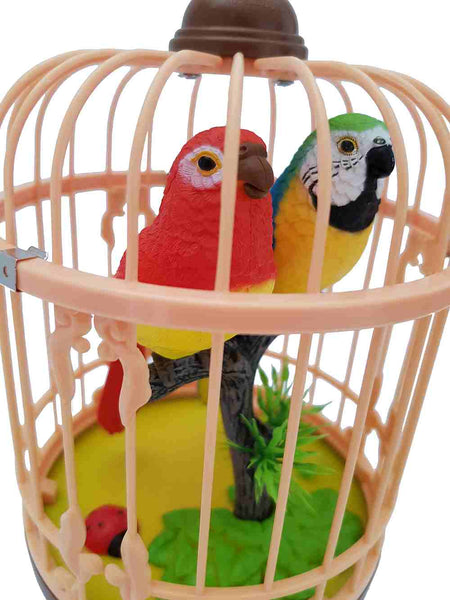 Sound Control Function Parrot Bird Pets in the Cage Music Singing Bird Baby Toys Christmas Gift for Kids
