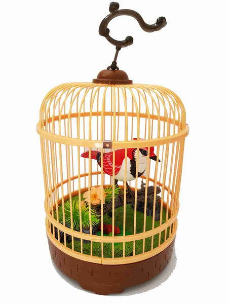 Sound Control Function Bird Pets in the Cage Red Bird Music Singing Bird Baby Toys Birthday Gift for Kids