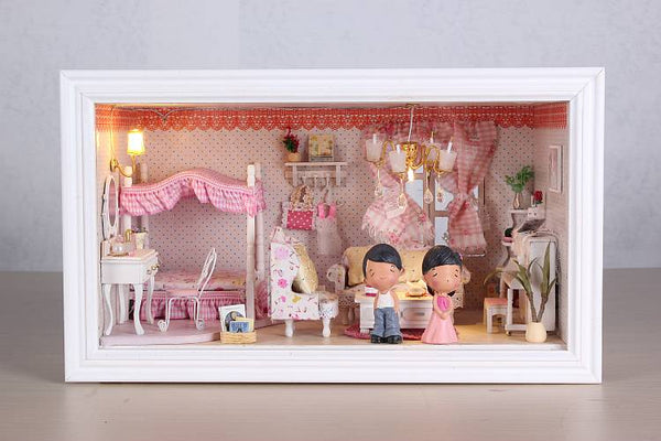 Intelligent Voice Control Assemble Wooden Kids Toy Miniature Dollhouse 'Pink Dream' w/ LEDs Birthday Present