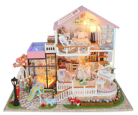 DIY Dollhouse Furniture Kits 'Sweet Words' Wooden Miniature Doll House w/ LEDs and Remote Control Switch Handmade Gifts Birthday Presents