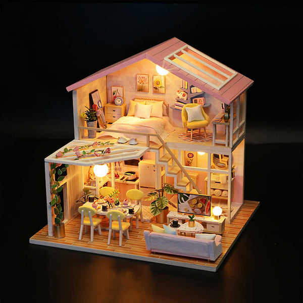 DIY 'Sweet Time' (M2001) Wooden Miniature Dollhouse w/ LEDs, Dust Proof Cover and Glues
