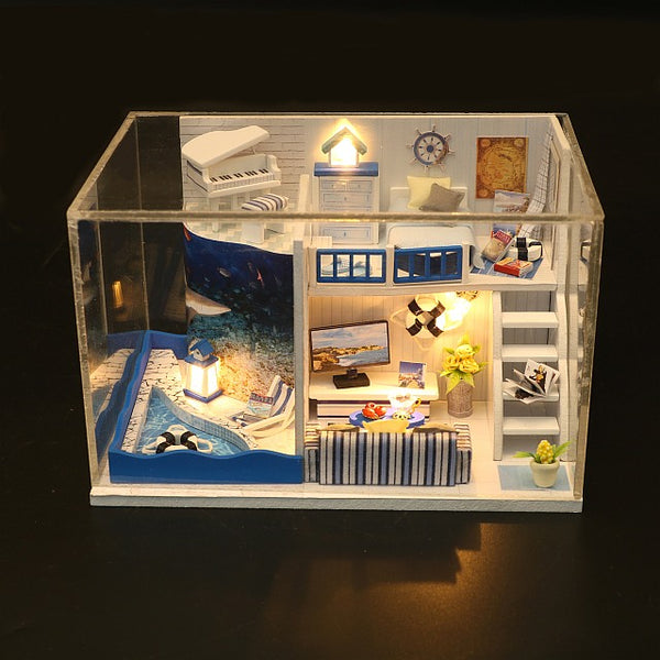 DIY M040 'The Sound of the Sea' Wooden Kids Toy Miniature Dollhouse w/ LEDs