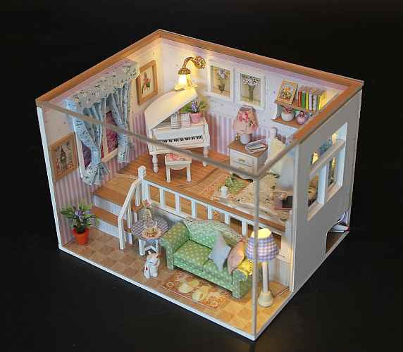 Hoomeda M026 'Because of You' Wooden Miniature Dollhouse w/ LED Lights and Dust Proof Cover Assemble Dollhouse