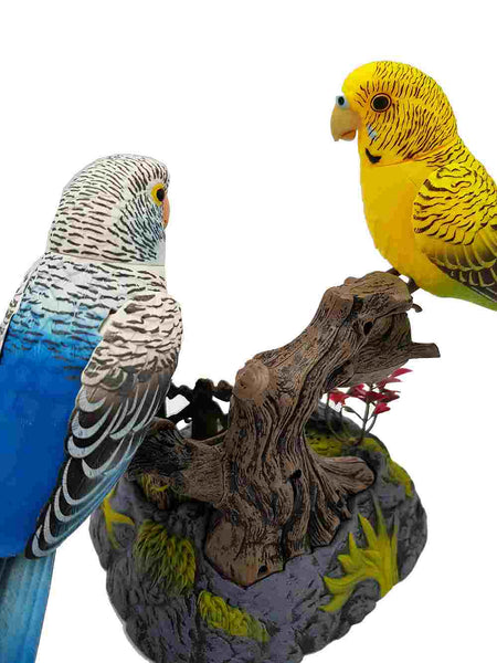A Pair of the Ensemble Birds Beautiful Birds Melopsittacus Undulatus Electric Sound Control Parrot Pen Pencil Holder Pet Toys