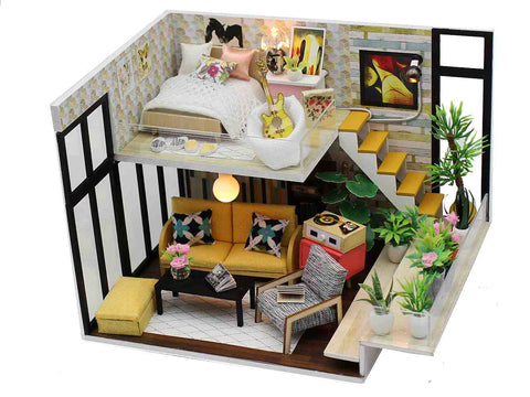 DIY M031 'Cynthia's Holiday' Wooden Miniature Dollhouse w/ LED Lights and Dust Proof Cover Assemble 1:12 Dollhouse